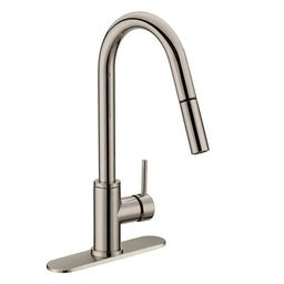 Pull Down Single Handle Kitchen Faucet with Soap Dispenser Jones Stephens Finish: Stainless Steel   Wayfair North America