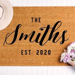 Closing Gift Idea, Personalized Last Name Doormat, Custom Floor Mat, Gift for Newlyweds or Weddin...   Etsy (US)