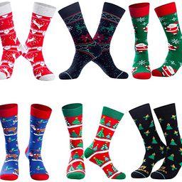 Mens Funny Socks Christmas Socks for Men Women Colorful Fun Novelty Crew Patterned Socks 6 Pairs ...   Amazon (US)
