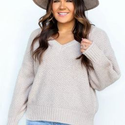 Winter Babe V-Neck Chunky Knit Sweater-2 colors | Apricot Lane Boutique