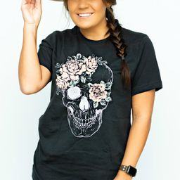 Oversized Rose Skull Graphic Tee | Apricot Lane Boutique