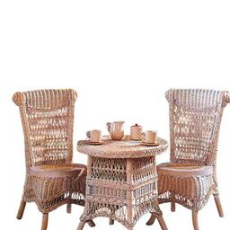 Childrens Wicker Table & Chairs (Whitewashed)   Victorian Trading Co.