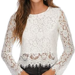 Women's Lace Long Sleeve Top Sexy Sheer Blouse Mesh Lace Crop Double Layers Blouse Shirt Tops | Amazon (US)