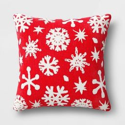 Holiday Woven Chenille Snowflake Square Throw Pillow - Wondershop™ | Target