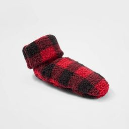 Women's Buffalo Check Sherpa Booties with Grippers - Red/Black   Target