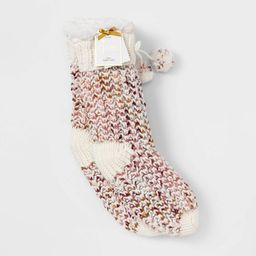 Women's Sweater Knit Sherpa Lined Slipper Socks with Grippers - Ivory 4-10   Target