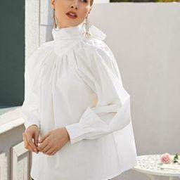 High Neck Tie Back Bishop Sleeve Oversized Top | SHEIN