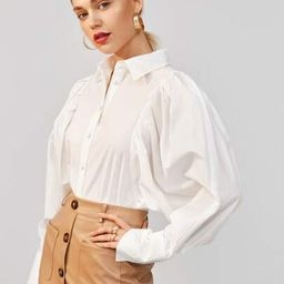 SHEIN Pleated Gigot Sleeve Solid Blouse | SHEIN