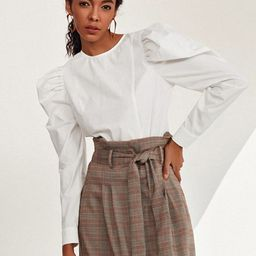 SHEIN Gigot Sleeve Solid Top | SHEIN