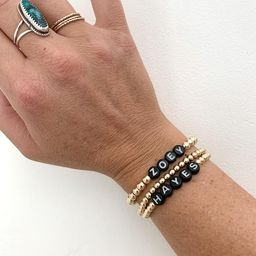 Personalized Initial 14K Gold Filled Dot Beaded Bracelet   Black Letter Beads    Initials Bracele...   Etsy (US)
