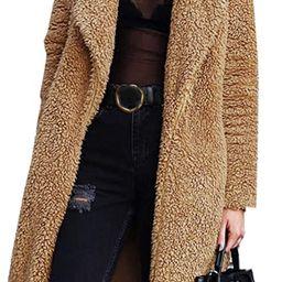 Angashion Women's Fuzzy Fleece Lapel Open Front Long Cardigan Coat Faux Fur Warm Winter Outwear J... | Amazon (US)