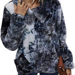 KIRUNDO 2020 Women's Winter Lapel Sweatshirt Faux Shearling Shaggy Warm Leopard Pullover Zipped... | Amazon (US)