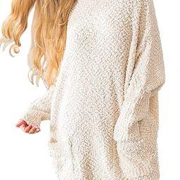 Meenew Women's Oversized Sweater Casual Loose Sherpa Fleece Fuzzy Long Pullovers | Amazon (US)