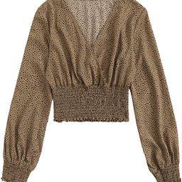 MakeMeChic Women's Casual Long Sleeve Deep V Neck Striped Chiffon Crop Blouse Top   Amazon (US)