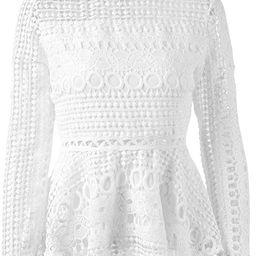 SUNJIN ACRO Women's Elegant Lace Tops Hollow Out Long Sleeve Peplum Hem Shirt Blouse (White,Mediu... | Amazon (US)