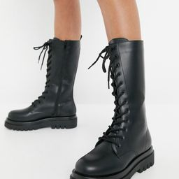 Truffle Collection lace up knee high chunky boots in black   ASOS (Global)
