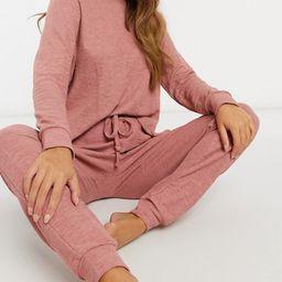 ASOS DESIGN lightweight sweatshirt / sweatpant set in rust   ASOS (Global)