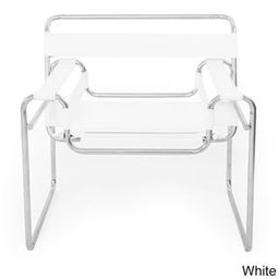 Kardiel Mid-Century Modern Saddle Leather Wassily Chair (White Saddle Leather)   Overstock