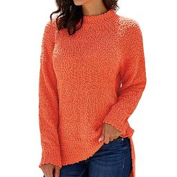 VLRSY Women's Pullover Sweaters Orange - Orange Popcorn Pullover Sweater - Women | Zulily
