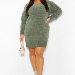 Womens Plus Chenille Slash Neck Sweater Dress - Green - 16   Boohoo.com (US & CA)
