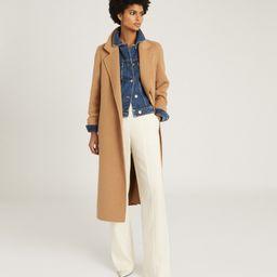 Reiss Leah - Wool Blend Longline Overcoat in Camel, Womens, Size 0   Reiss (Global - Non UK)
