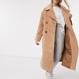 Y.A.S wool longline coat with tortoise shell buttons in camel-Tan   ASOS (Global)