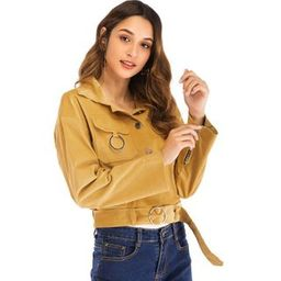 Corduroy Pocket Buttoned Cropped Jacket | YesStyle Global
