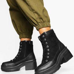 Womens Croc Panel Block Heel Combat Boots - Black - 7 | Boohoo.com (US & CA)