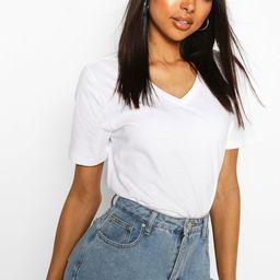 Womens Tall V-Neck Cotton T-Shirt - White - 6 | Boohoo.com (US & CA)
