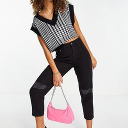 Wednesday's Girl high waist mom jeans with ripped knees in black wash denim | ASOS (Global)