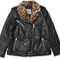 Levi's Women's The Natalie Leather Leopard Faux Fur Collar Moto Jacket, Black, Medium | Amazon (US)