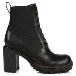 Rag & Bone Women's Shaye Block-Heel Leather Combat Boots - Black - Size 37.5 (7.5) | Saks Fifth Avenue