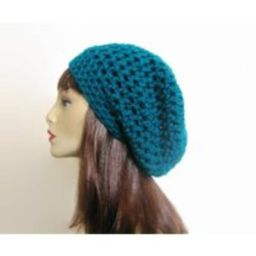 Teal Slouch Beanie Crochet Hat Women's Hat Blue Slouchy Beret Turquoise Knit | Etsy (US)
