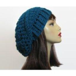 Teal Slouch Beanie Blue Slouchy Hat Rasta Dreadlocks Knit Beret Tam Slouchy Crochet Women's Hat | Etsy (US)