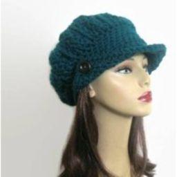 Crochet Newsboy Hat Teal Knit Slouchy Cap Adult Aqua News Boy With Visor & Button Beret | Etsy (US)