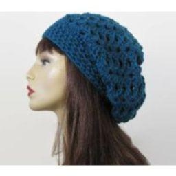 Blue Slouchy Hat Teal Slouch Beanie Crochet Hat Crochet Women's Beret Turquoise Knit | Etsy (US)