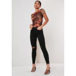 Black Highwaisted Destroyed Hem Skinny Jeans | Missguided (US & CA)