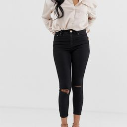ASOS DESIGN Petite Ridley high waisted skinny jeans in clean black with ripped knees | ASOS (Global)