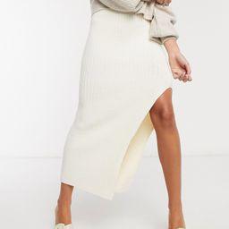 Topshop rib midi knit in ivory-White | ASOS (Global)