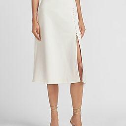Ladygang High Waisted Knit Ponte Midi Skirt White Women's XS | Express