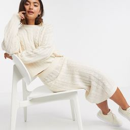 Brave Soul 2 piece cable knit jumper and and midi skirt set in ivory-White | ASOS (Global)