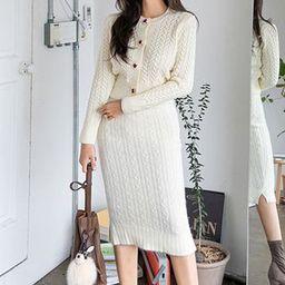 Set: Cable-Knit Cardigan + Midi Knit Skirt Ivory - One Size | YesStyle Global