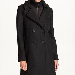 DKNY Women's Overcoats BLK:BLACK - Black Wool Trench Coat - Women | Zulily