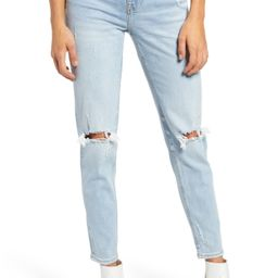 Women's Vigoss Frankie High Waist Distressed Ankle Straight Leg Jeans, Size 31 - Blue   Nordstrom