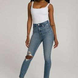 Good Curve Skinny Crop Blue480 Flared Ripped Jeans, Size 4   Good American