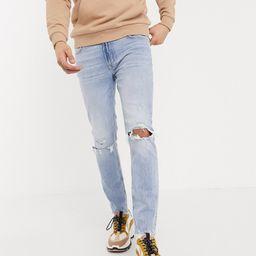 Bershka skinny jeans with knee rips in light blue wash   ASOS (Global)