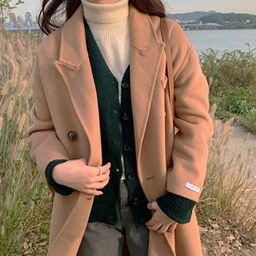 Peaked-Lapel Double-Breasted Wool Blend Coat Camel - One Size   YesStyle Global