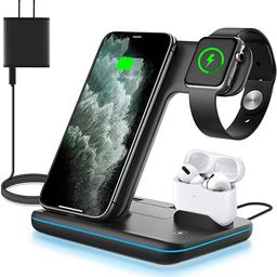 WAITIEE Wireless Charger, 3 in 1 Qi-Certified 15W Fast Charging Station for Apple iWatch Series S...   Amazon (US)