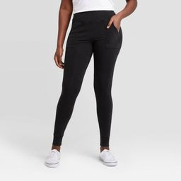 Women's Ribbed High-Waist Leggings with Pockets - A New Day Black S | Target