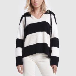 ATM Anthony Thomas Melillo Chenille Hoodie Sweater in Black/White Stripe, Medium   goop